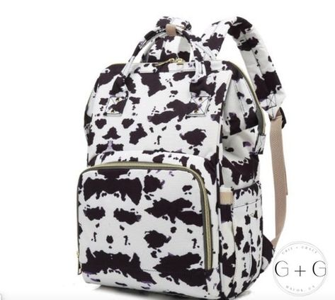 Buy Cow print diaper bag large shoulder backpack cow pattern travel bag at Wish - Shopping Made Fun Best Backpack Diaper Bag, Cute Diaper Bags, Large Diaper Bags, Shoulder Backpack, Cow Nursery, Babies Nursery, Western Babies, Baby Necessities, Baby Essentials