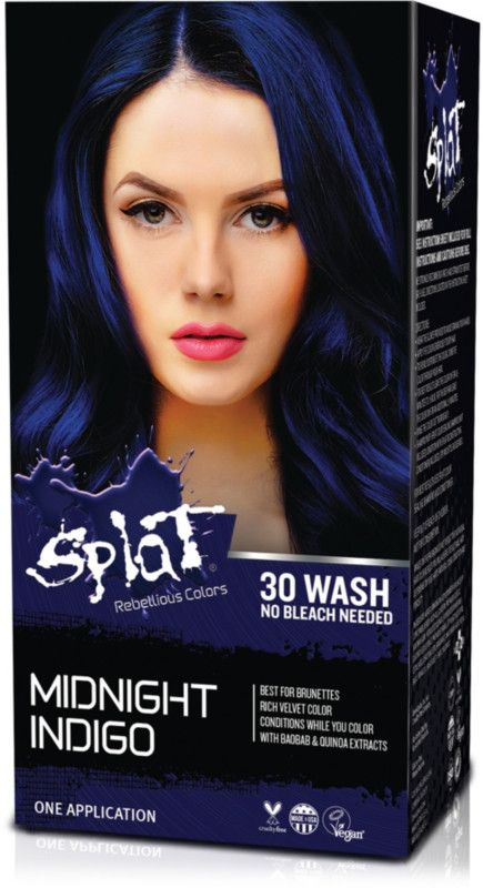 Splat Hair Color Kit Has A No Bleach Formula That Lasts Up To 30 Washes Box Hair Dye Dyed Hair Blue Splat Hair Color