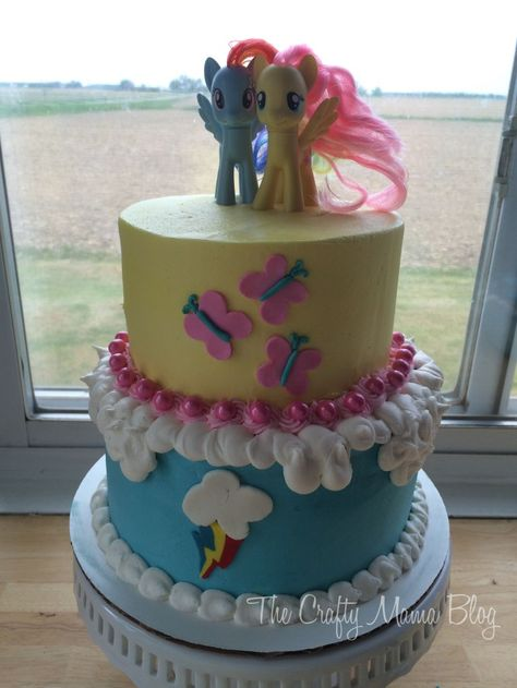 Fluttershy and Rainbow Dash Cutie Mark Birthday Cake for Little Girls My Little Pony, MLP