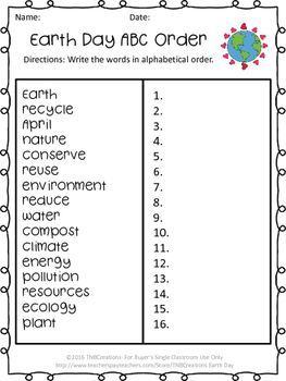 Earth Day FREE | ABC Order | Earth day, Worksheets