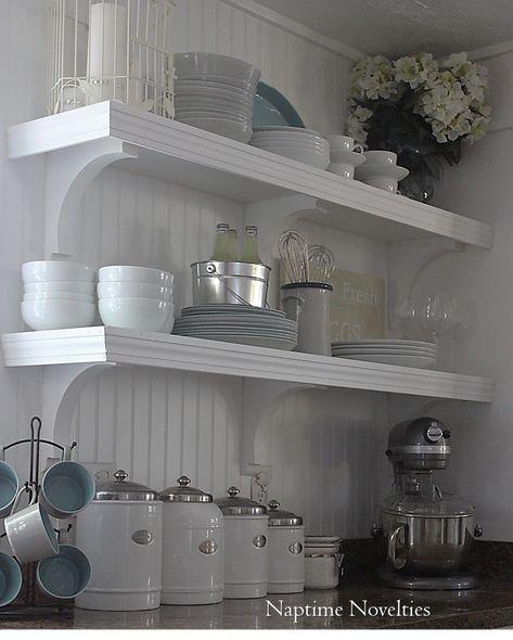 DIY Open Shelves in Kitchen and beadboard backsplash