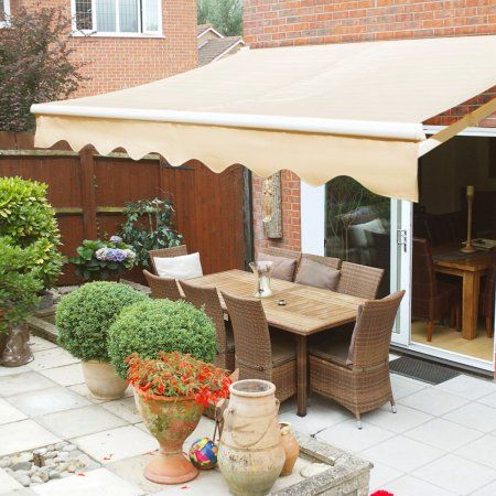Xtremepowerus Manual Retractable Patio Awning Tan Multiple Sizes Walmart Com Patio Awning Patio Shade Outdoor Sun Shade
