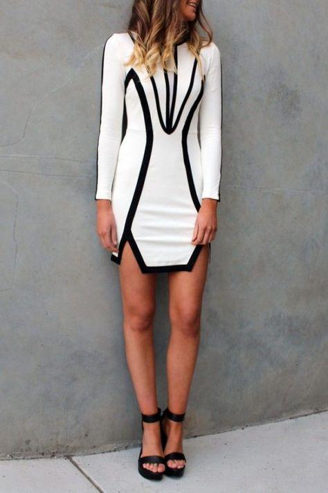 Sueno vestido blanco y negro