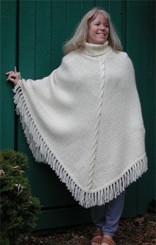 Poncho, knit top down so it can be shorter