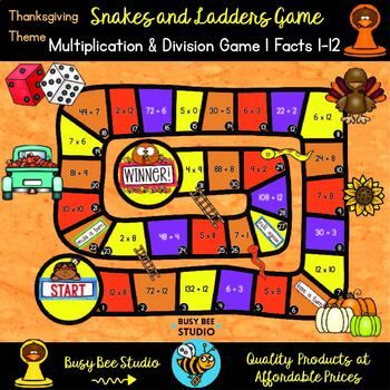 Multiplication And Division Game Thanksgiving Theme Division