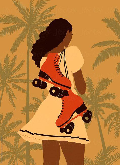 Girl with roller skates by Kristina Balashova - Stocksy United Retro Roller Skates, Roller Derby Clothes, Roller Derby Girls, Roller Skating Pictures, Roller Quad, Quad Skates, Skate Girl, Retro Aesthetic, Black Art