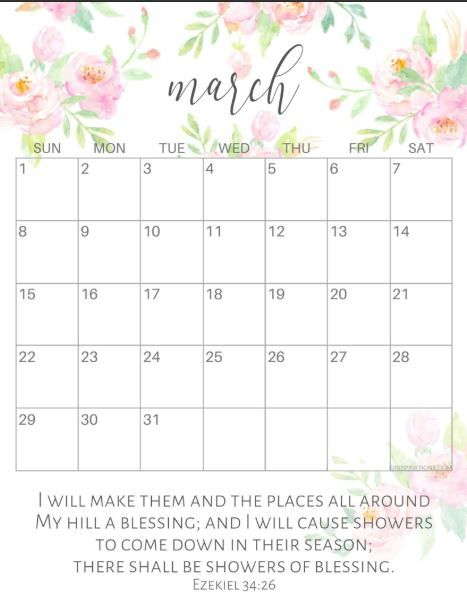 Awesome 25 Cute March Calendar 2020 Floral Wallpaper For Desktop