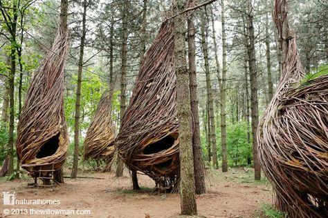 Will Beckers Alias The Willowman El Hombre Sauce Crea Esculturas De Mimbre En Las Que Vive La Alde Arte De La Tierra Arquitectura De Bambú Casas Naturales