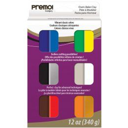 Sculpey Premo Oven Bake Polymer Clay Vibrant Classic Colors Set 12 Colors