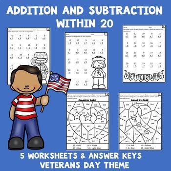 Veterans Day Math Worksheets Addition And Subtraction Within 20 In 2021 Addition And Subtraction Subtraction Addition And Subtraction Worksheets Veterans day math worksheets