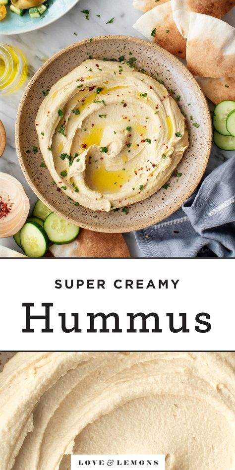 BEST Hummus Recipe – Love and Lemons Learn how to make the BEST homemade hummus! My easy hummus recipe calls for just 7 basic ingredients, and it comes out light, fluffy, ultra smooth, and delicious. Serve with warm pita and veggies! Vegetarian Recipes, Cooking Recipes, Healthy Recipes, Beef Kabob Recipes, Vegetarian Appetizers, Snacks Recipes, Hummus Recipe Variations, Best Hummus Recipe, Healthy Hummus Recipe Without Tahini
