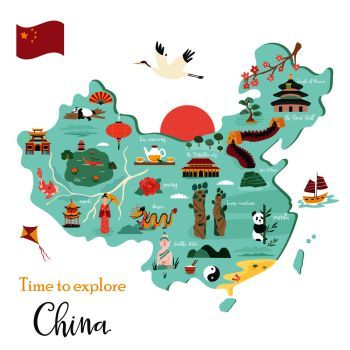 cartoon map of china Image Details Ist 22098 00067 Chinese Cartoon Vector Map With cartoon map of china