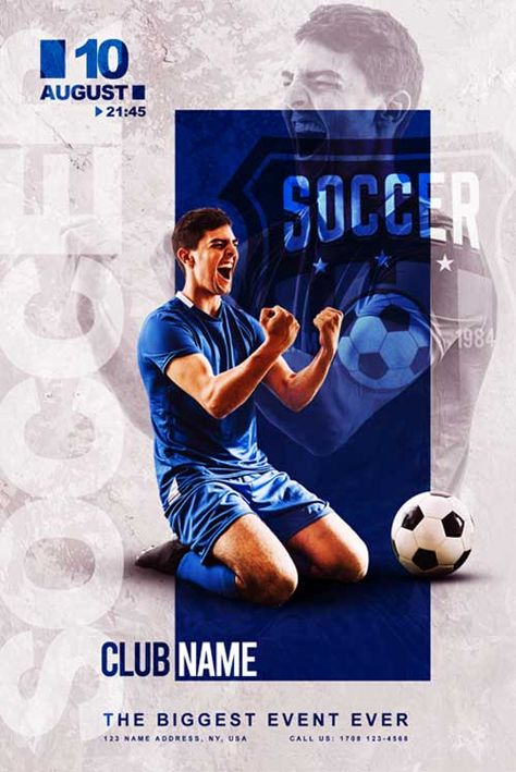 Check Out The Free Soccer Club Flyer Template Only On Https Freepsdflyer Com Free Soccer Club Flyer Free Psd Flyer Templates Club Flyers Sport Poster Design