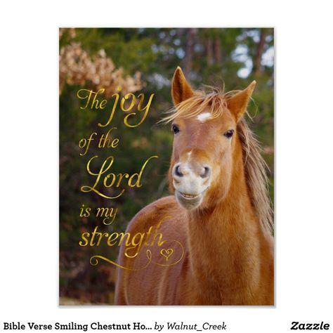 Bible Verse Smiling Chestnut Horse Poster