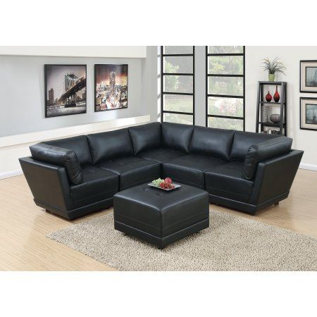 Living Room Furniture Black Bonded Leather Sectional Sofa 6pc Set Tufted Couch Seat Leather Sectional Sofas Black Furniture Living Room Leather Sectional Sofa