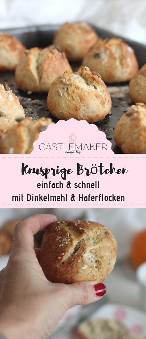 Diese köstlichen Brötchen mit Haferflocken sind ruck zuck zubereitet und haben eine kurze Backzeit, so dass sie in insgesamt 45 Minuten auf dem Frühstückstisch stehen können. Das Rezept für die Dinkelbrötchen (es geht auch Weizenmehl) gibt es auf Castlemaker.de  #brötchen #rezept #dinkelbrötchen #haferflocken #körnerweckle