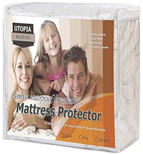 Bamboo Mattress Protector Hypoallergenic Fitted Breathable Waterproof Cover Pad