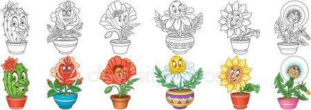 Conjunto De Flores Plantas Em Vasos Desenho Para Colorir