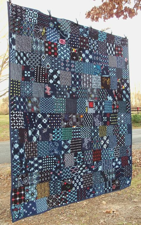 Indigo Quilt Japanese Kasuri Boro Cotton by artdesignsbydanielle - color scheme for quilting that I think Pauline would like