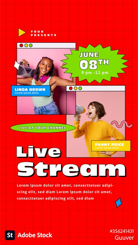 Live-stream social media layout pack