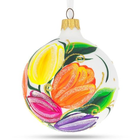 BestPysanky Caterpillar Glass Christmas Ornament
