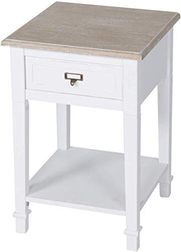 New Kinsuite White Side Table Drawer Storage Shelf Wood End Table