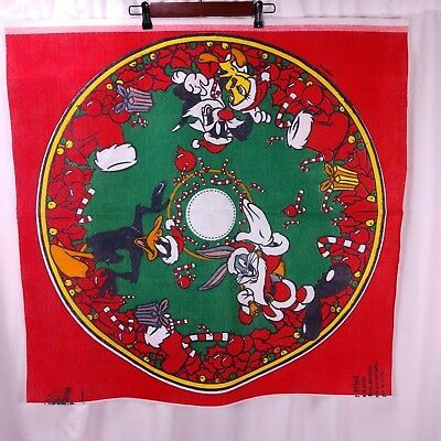 Christmas Tree With Bugs 2020 Vtg Looney Tunes Christmas Tree Skirt Fabric Panel Sylvester Bugs