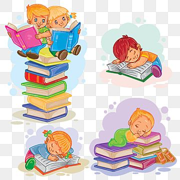 Set Icons Of Small Children Reading A Book Reading Clipart Reading Book Png And Vector With Transparent Background For Free Download Drawing For Kids Kids Vector Art Wall Kids