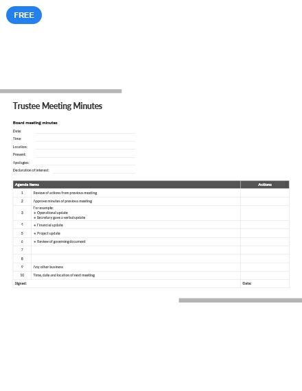 Trustee Meeting Minutes Template Free Pdf Google Docs Word Apple Pages Pdf Template Net Templates Templates Printable Free Business Model Canvas - ms word minutes template