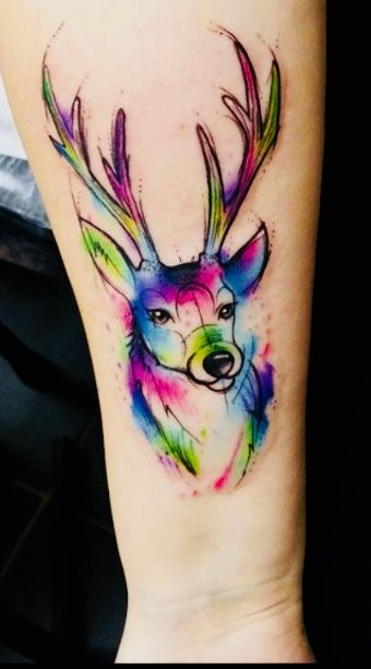 Watercolor Deer Tattoo On Arm Deer Tattoo Tattoos Watercolor Deer