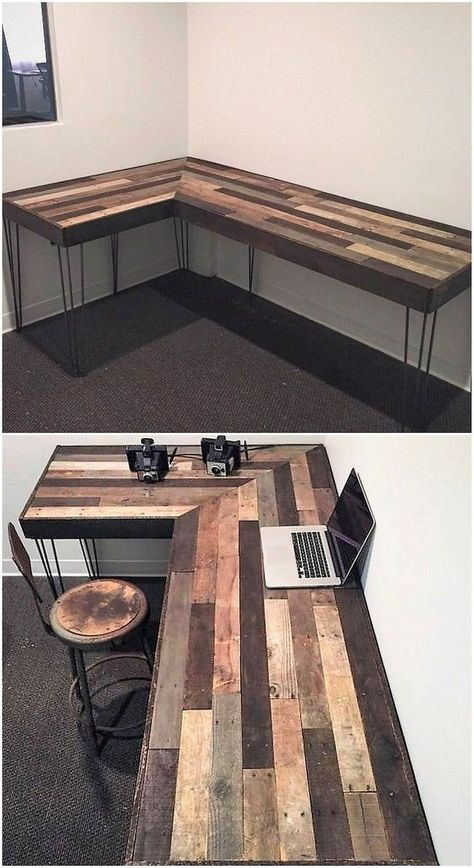 Use Pallet Wood Projects to Create Unique Home Decor Items Pallet Desk, Wooden Pallet Furniture, Wood Pallets, Diy Wood Desk, Pallet Patio, 1001 Pallets, Industrial Furniture, Antique Furniture, Diy Office Desk