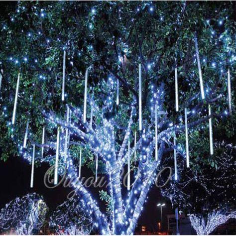 50cm 320LED Lights Meteor Shower Rain 8 Tube Xmas Snowfall Tree Outdoor Light
