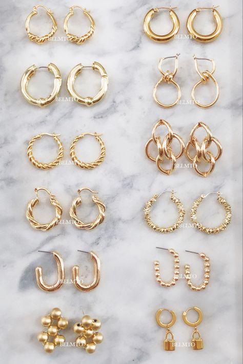 Ear Jewelry, Cute Jewelry, Gold Jewelry, Jewelry Box, Jewelry Accessories, Jewellery Earrings, Looks Pinterest, Accesorios Casual, Jewelry Photography
