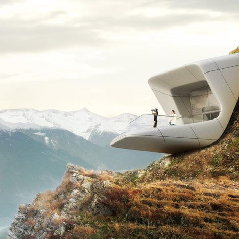 Images of Zaha Hadid's addition to the Messner Mountain Museum, a string of buildings dotted through the Dolomites of northern Italy.