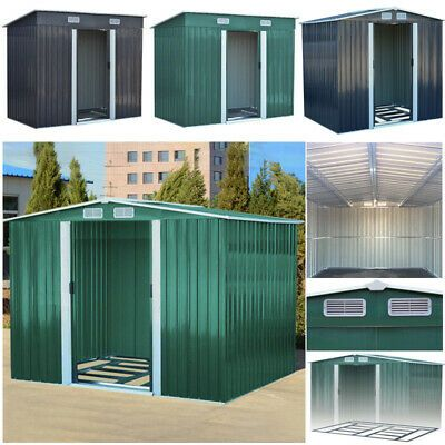 New Metal Garden Shed 6 X 4 8 X 4 8 X 6 10 X 8 Garden Storage With Free Base Ebay In 2020 Shed Roof Cladding Garden Storage Shed