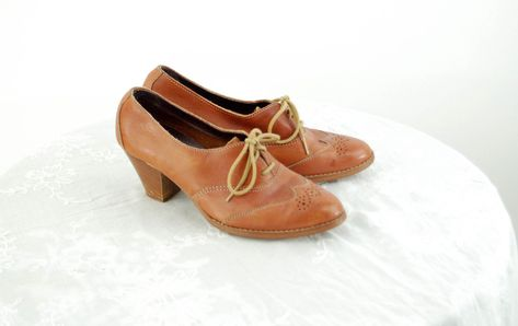 Vintage Clothing Vintage Women/'s 1970s SJA of Spain Oxblood Lace-up Wooden Heel Leather Shoes Retro Shoes