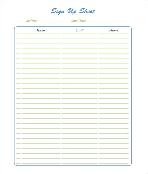 Back-to-School Sign-Up Sheet Get this free, printable, customizable - Sign Sheet Template