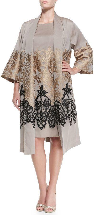 Marina Rinaldi Tamigi Lace-Detail Coat, Women's on shopstyle.com