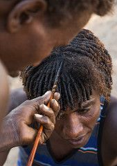 Afar man having a traditional hairstyle with a stick to make curly hair, Afar region, Afambo, Ethiopia (Eric Lafforgue) Tags: adultsonly afambo afar africa africanculture africanethnicity africans anthropology colourpicture culture curlyhair danakil day eastafrica ethio17211 ethiopia ethiopians ethnic hair haircut hairdresser hairstyle hands hornofafrica indigenousculture menonly nomadicpeople nomads onlymen outdoors pastoralists people photography portrait realpeople scene stick traditional tri