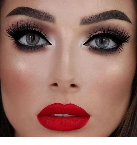 Amazing Matte Bright Red Lips Red Lipstick Makeup Red Lip