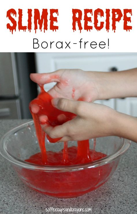 Easy 2 ingredient slime recipe for kids! No Borax in this one. Visit pinterest.com/arktherapeutic for more #sensoryplay activities