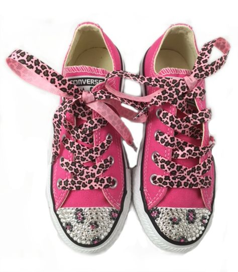 527ad098ad1c Customized Converse All Star for Girls - Pink Low Tops customized with  Swarovski Crystals in Leopard Pattern and added Leopard Print…