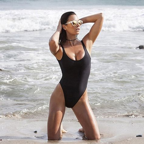 c1748fc92fd Dixperfect Women's Retro 80s/90s Inspired High Cut One Piece Swimwear  Bathing Suit (S, Black) at Amazon Women's Clothing store: