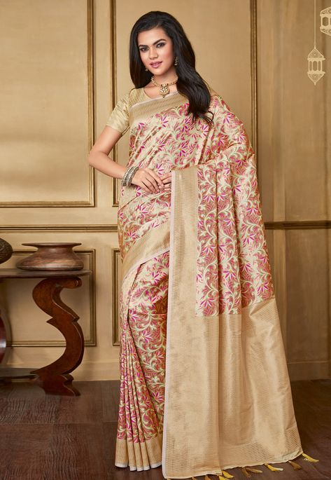 68965b1376 Buy Beige Silk Saree With Blouse 170264 with blouse online at lowest price  from vast collection of sarees at Indianclothstore.com.