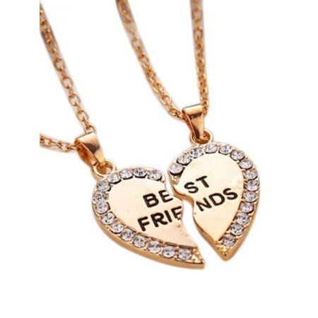 Best Friend Two Piece Broken Heart With Crystals Necklace Anti Tarnish Resistant Jewelry J 348a Friend Necklaces Best Friend Necklaces Friendship Necklaces