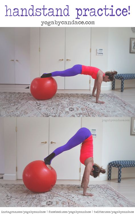 Using a stability ball for handstand practice -- love this idea!