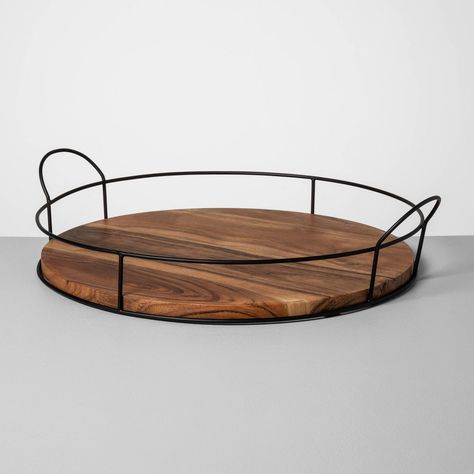 Wood And Metal Tray - Hearth & Hand™ With Magnolia : Target Round Wooden Tray, Round Tray, Wooden Trays, Magnolia Home Decor, Magnolia Homes, Magnolia Kitchen, Galvanized Tray, Marble Tray, Metal Trays