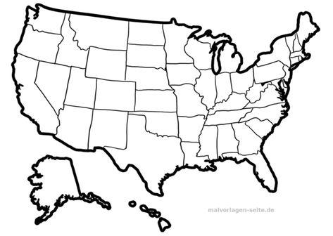 Landkarte Usa Zum Ausmalen Und Selber Gestalten In 2020