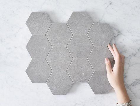 Stanmore Matt Charcoal Concrete Look Hexagon Tile