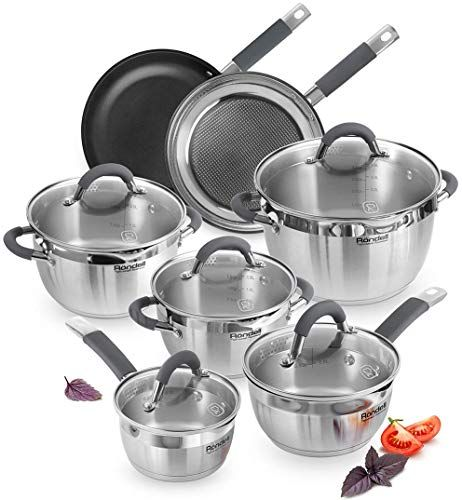 The Perfect Rondell Flamme Stainless Steel Cookware Set Induction Kitchen Nonstick Saucepa Cookware Set Stainless Steel Stainless Steel Cookware Cookware Set